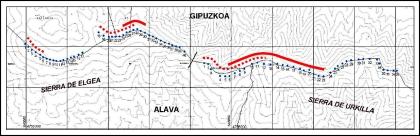 Zonas de mayor accidentalidad para los buitres (trazo rojo). Las picadoras están representadas por puntos azules.